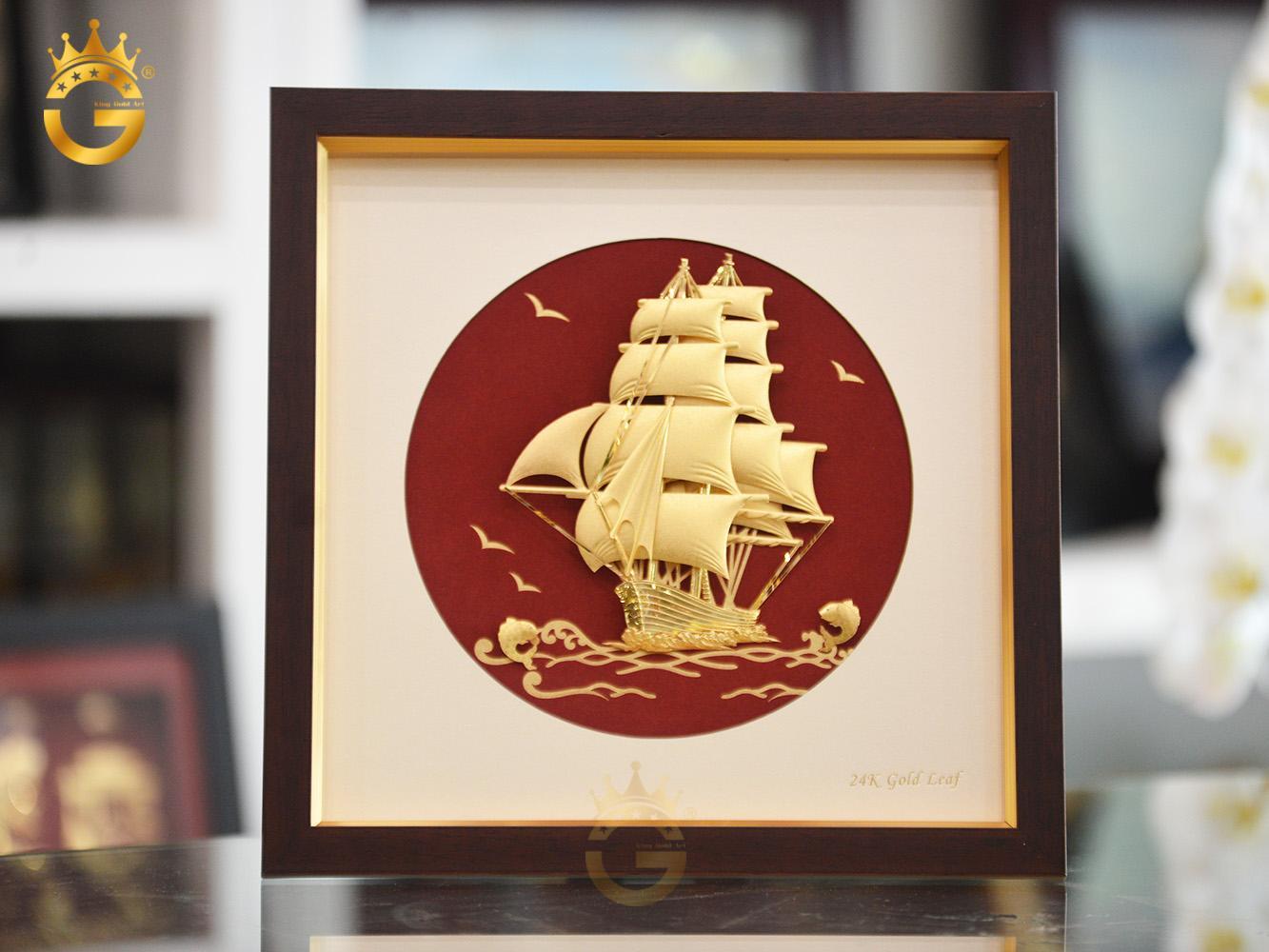 Quà tặng vàng, tranh thuyền buồm dát vàng 24k đẹp tinh xảo0