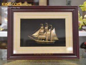 Tranh thuyền thuận buồm xuôi gió mạ vàng 24k đẹp tinh xảo