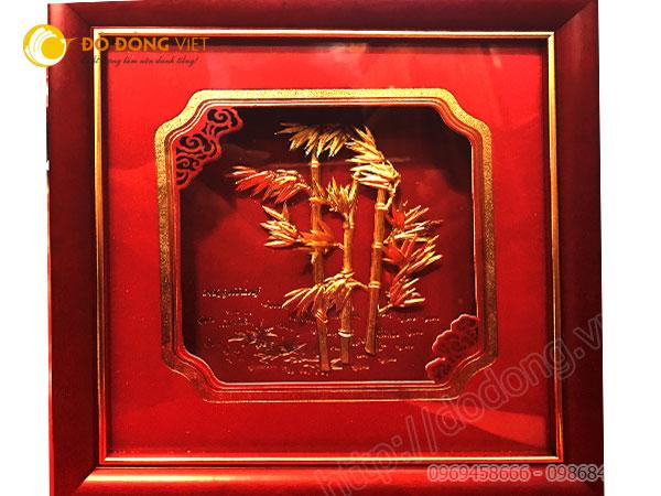 Tranh lá trúc dát vàng 3D, quà tặng khách hàng VIP0