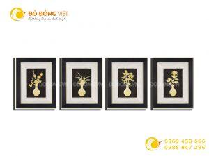 Giá bán tranh tứ quý vàng lá 24k