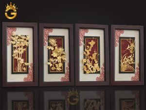 Bộ tranh tứ quý bằng vàng 24k hợp với gia chủ mệnh gì?
