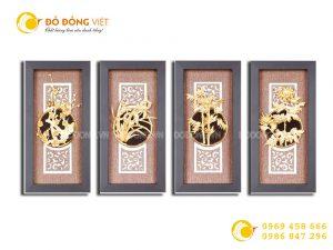 Bức tranh tứ quý dát vàng 9999