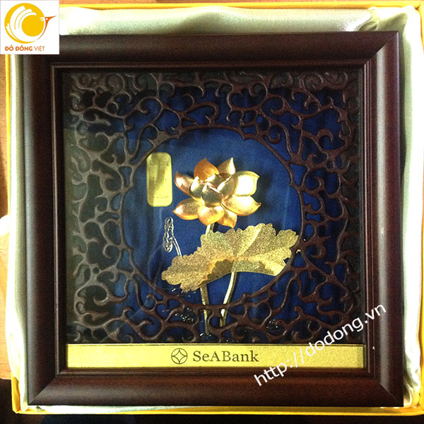 tranh hoa sen vàng lá 3d,tranh cao cấp