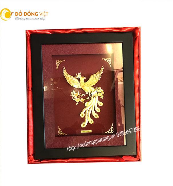 Bức tranh phượng hoàng bằng vàng 24k đẹp và tinh xảo đường dùng làm quà tặng đối tác,khách hàng cuối năm