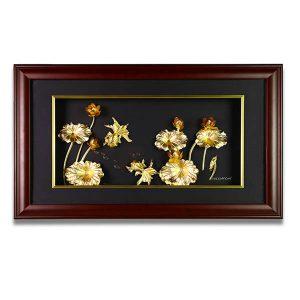 Tranh hoa sen vàng lá 24k 42 x 80 cm
