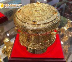 Quà tặng trống đồng mạ vàng đẹp tinh xảo