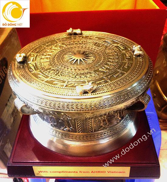 trống đồng ngọc lũ dk 20cm đúc đồng làm quà tặng đối tác,quà sự kiện đẹp