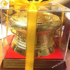 Trống đồng đúc dk 15cm mạ vàng 24k, quà tặng mang đi nước ngoài