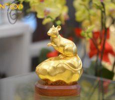 Quà tặng tượng chuột phong thủy mạ vàng 24k độc đáo