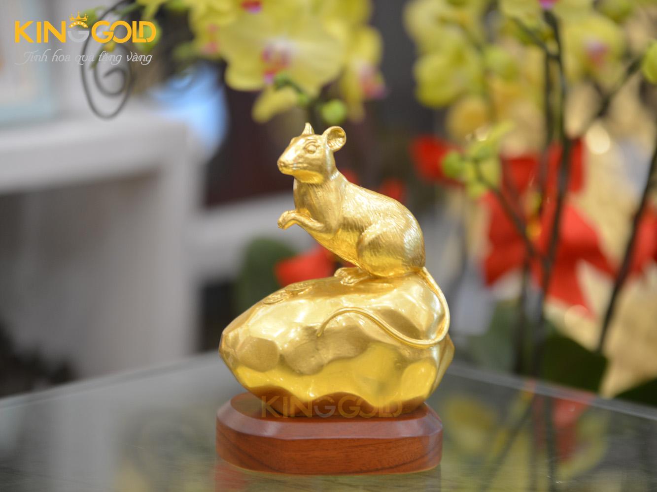 Quà tặng tượng chuột phong thủy mạ vàng 24k độc đáo0