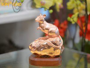 Tượng chuột bằng đồng đỏ- quà tặng linh vật Tết Canh Tý 2020