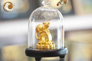 Tượng chuột bằng đồng mạ vàng, linh vật chuột đồng phong thủy
