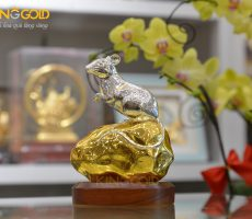 Quà Tặng Tượng Chuột Bằng Đồng Dát Bạc Dát Vàng Cao Cấp