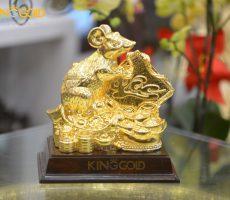 Tượng chuột ngồi trên tiền vàng ôm chữ Lộc- quà tặng Tết 2020