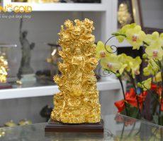 Đúc tượng Quán Thế Âm Bồ Tát tọa Cửu Long dát vàng 24k cao cấp