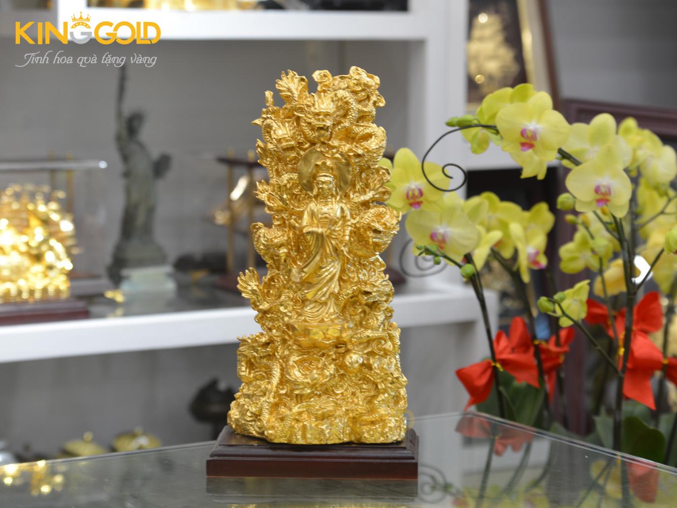 Đúc tượng Quán Thế Âm Bồ Tát tọa Cửu Long dát vàng 24k cao cấp0