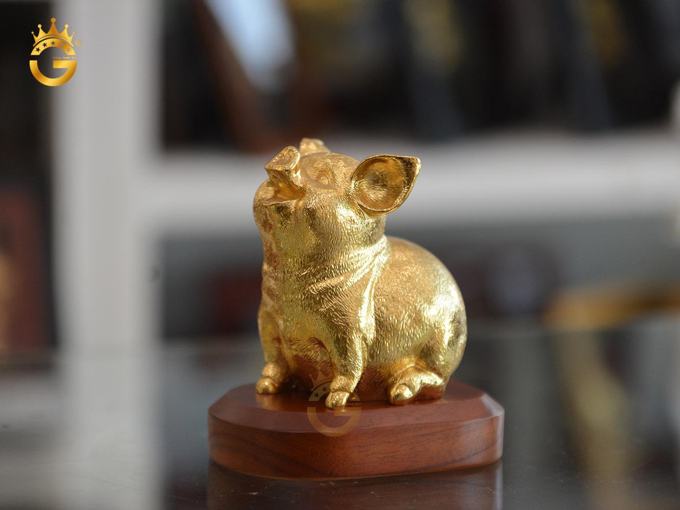 Tượng heo phong thủy mạ vàng 24k cao cấp- quà tặng khách VIP tuổi Hợi0