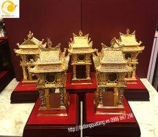 Qùa tặng tượng cổng khuê văn các đúc đồng mạ vàng 18cm