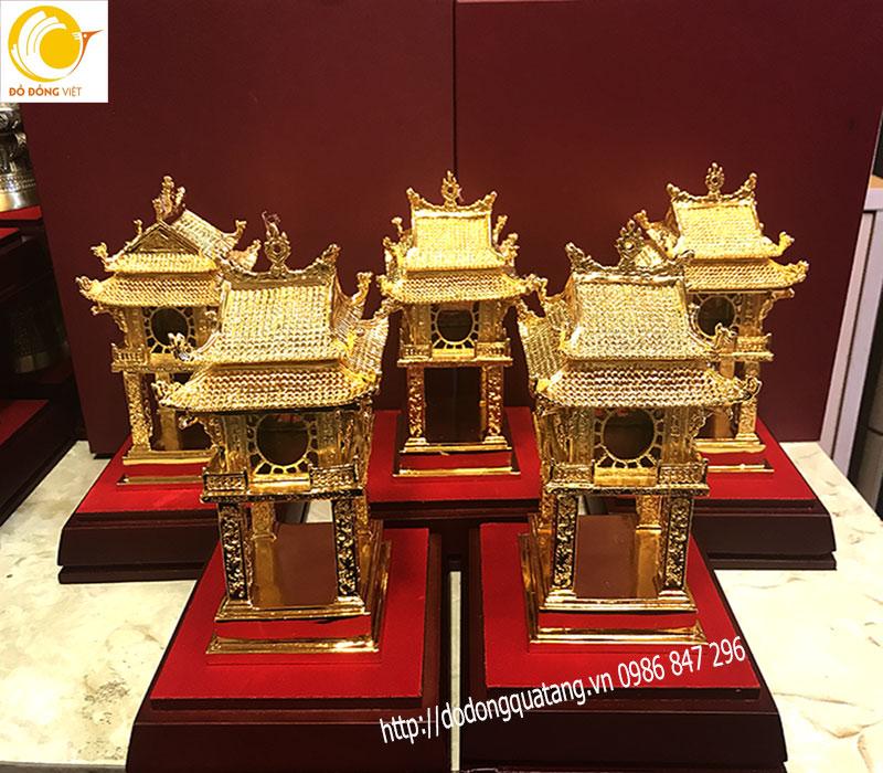 Qùa tặng tượng cổng khuê văn các đúc đồng mạ vàng 18cm0