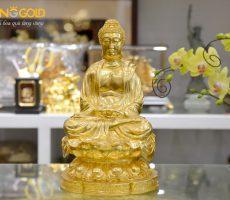 Đồ đồng Việt đúc tượng Phật A Di Đà ngồi thiền dát vàng 24k theo yêu cầu