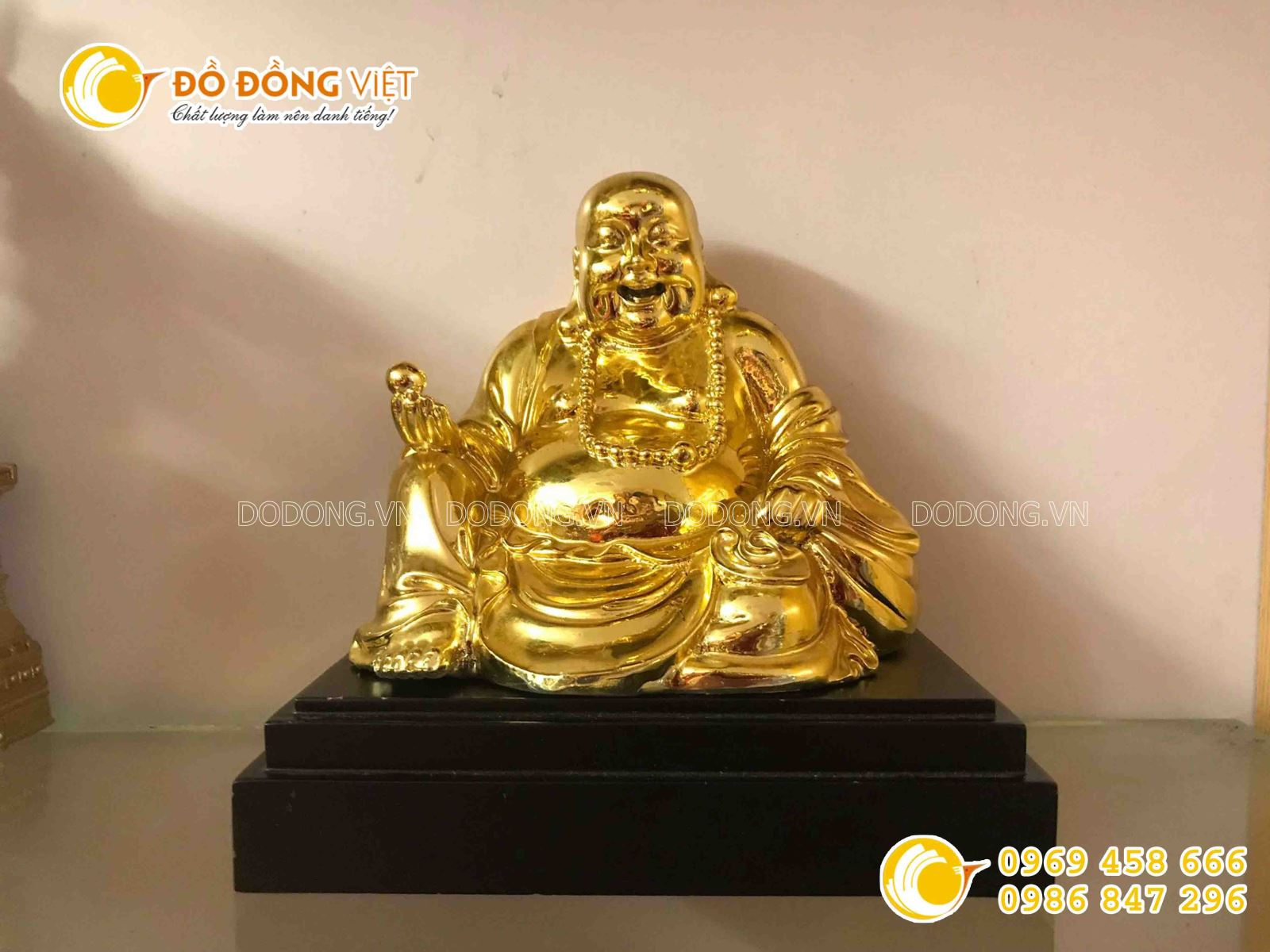 Quà tặng tâm linh, tượng Phật di lặc mạ vàng 24k0