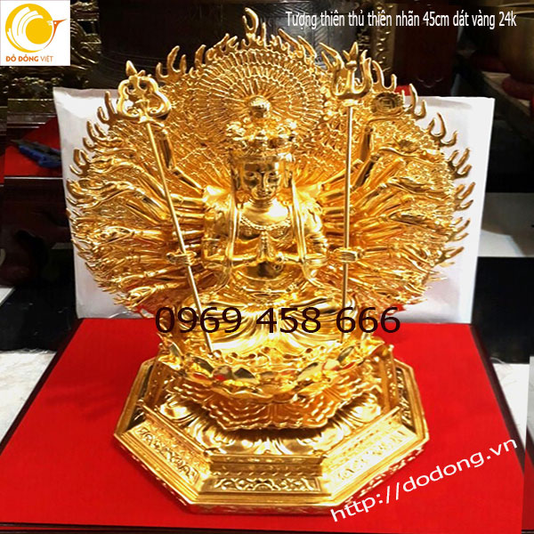 Tượng Phật thiên thủ thiên nhãn bằng đồng vàng0