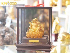 Tượng Phật Di Lặc ngồi đài sen mạ vàng 9999