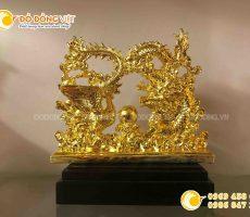 Quà cưới ý nghĩa- tượng rồng phượng bằng đồng mạ vàng