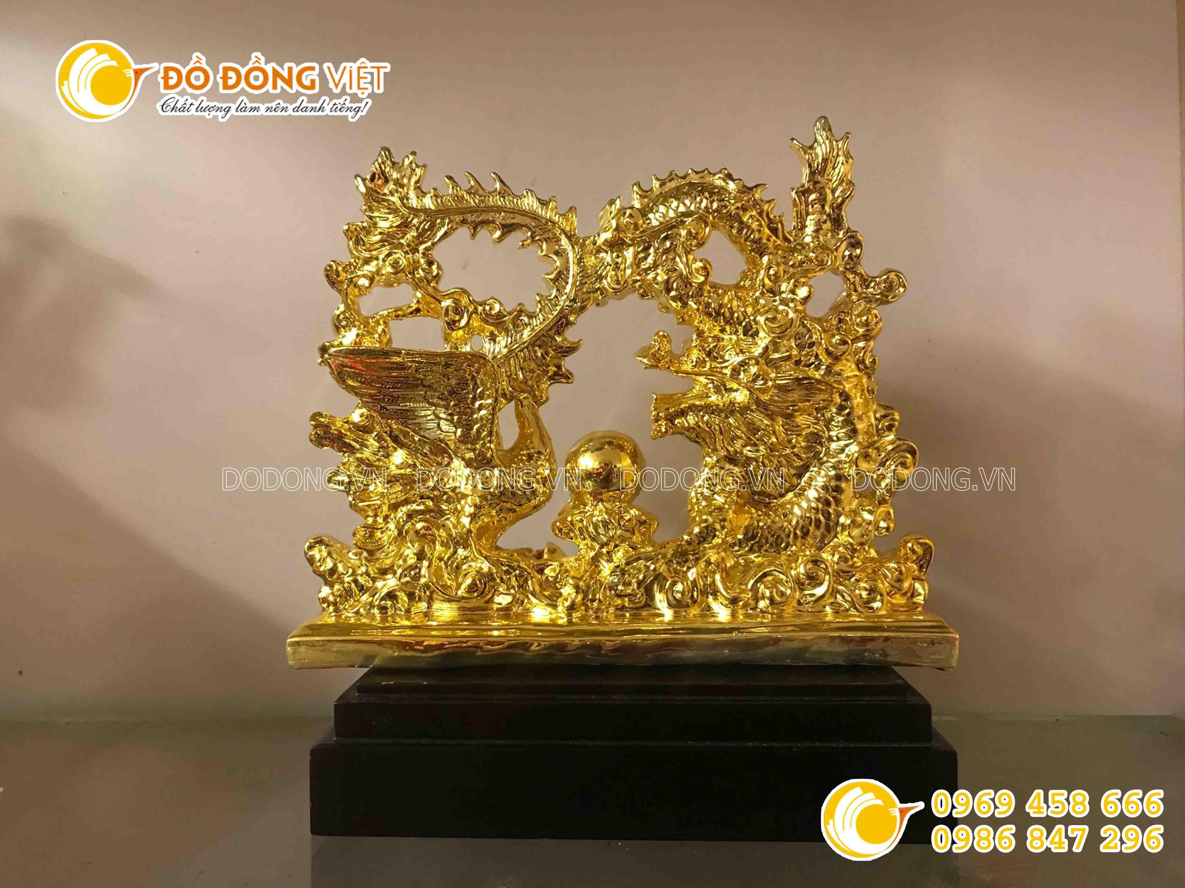 Quà cưới ý nghĩa- tượng rồng phượng bằng đồng mạ vàng0