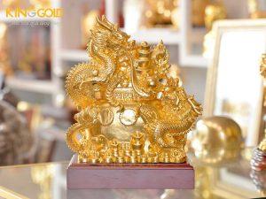 Tượng rồng vàng phong thủy ôm vàng bạc châu báu