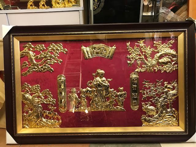 tranh cụ bà bằng đồng mạ vàng 2018 đẹp tại hà nội